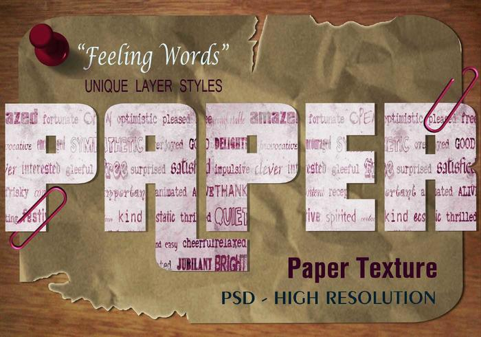 """Feeling Words"" Paper Text Effect PSD Vol.3"