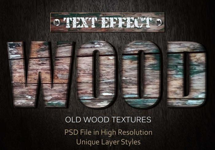 Old Wood Text Effect PSD Vol.4