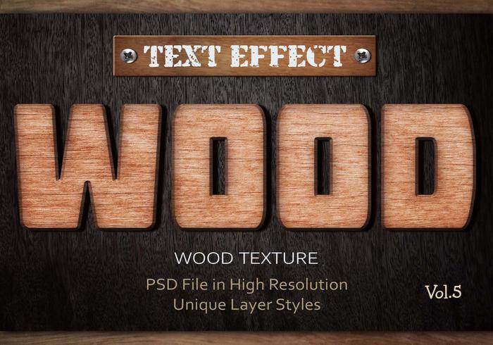 Efecto de texto de madera PSD Vol.5