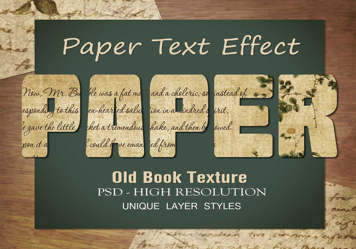 Old Book Page Text Effect PSD Vol.9