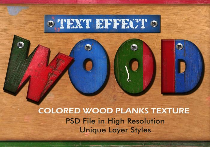 Efecto de texto de tablones de madera de color PSD Vol.10