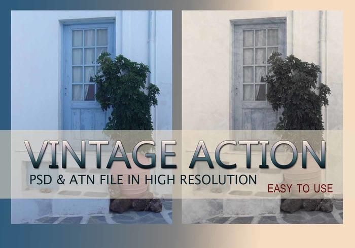 Effet photo vintage PSD & Action atn. Vol.1