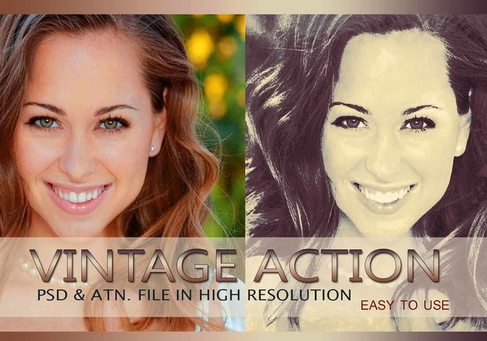 Effet photo vintage PSD & Action atn. Vol.3