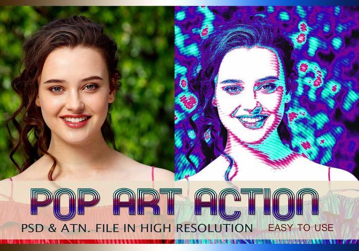 Efeito de Foto Pop Art PSD & Ação atn. Vol.7