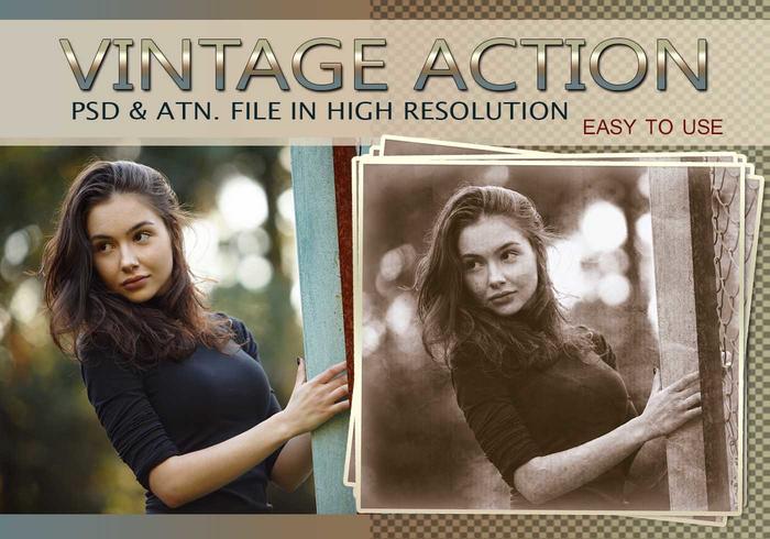 Efecto de foto vintage PSD y acción atn. Vol.9