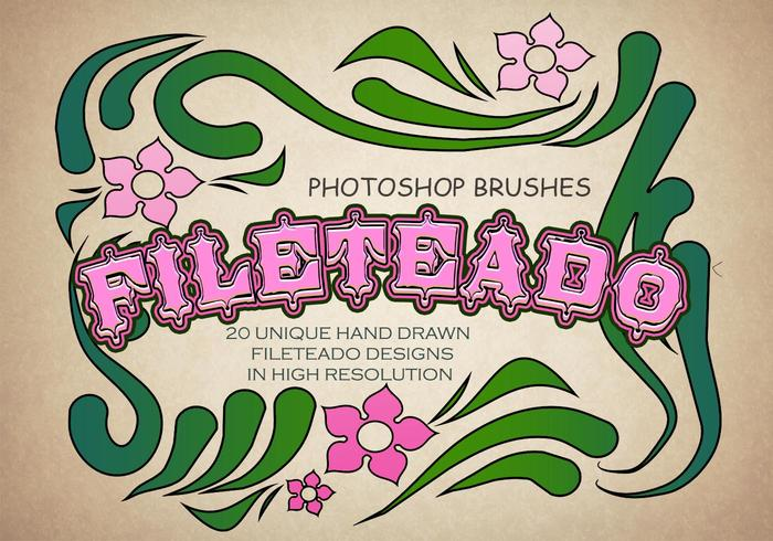 20 Hand Drawn Fileteado PS Brushes abr. vol.2