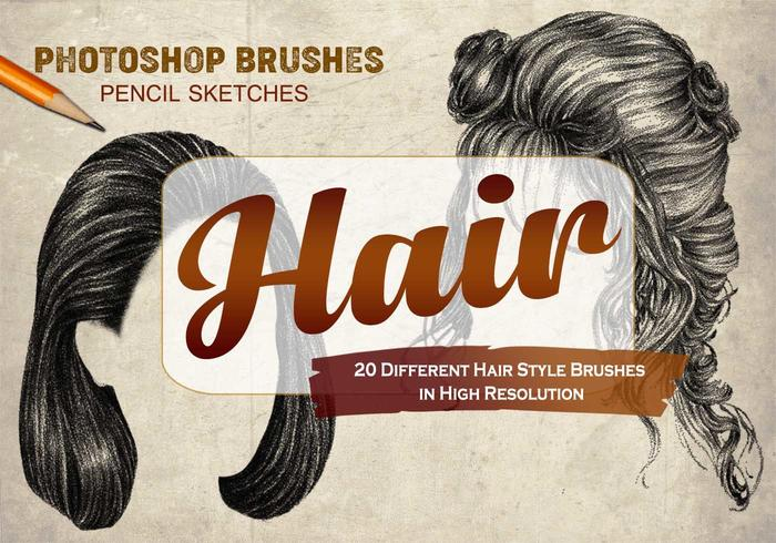 20 Hair Female PS Brushes abr. vol.1
