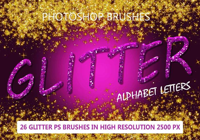 26 Glitter Alphabet Letters PS Brushes abr.