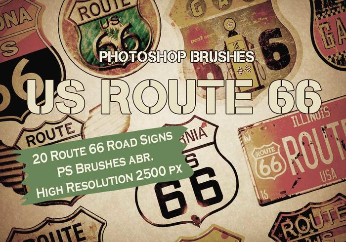 20 Route 66 Verkeersborden PS Borstels abr.