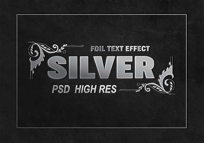 Silver Foil Text Effect PSD