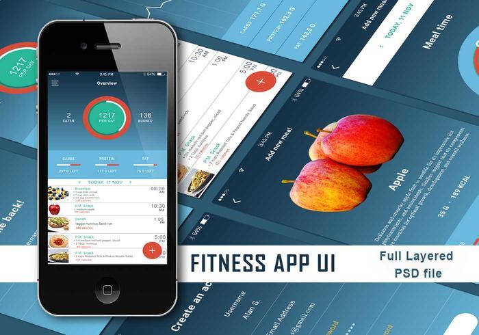 App de fitness UI PSD