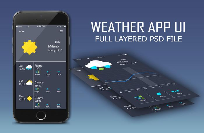 Weather App UI PSD