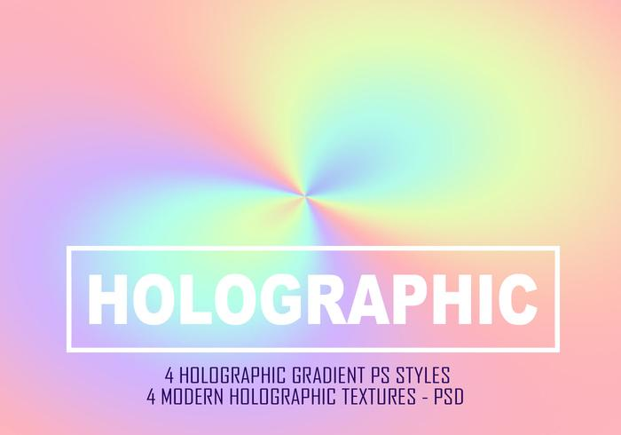 4 Holographic Gradient PS Styles  & 4 Ho;ographic Backgrounds - Full PSD File