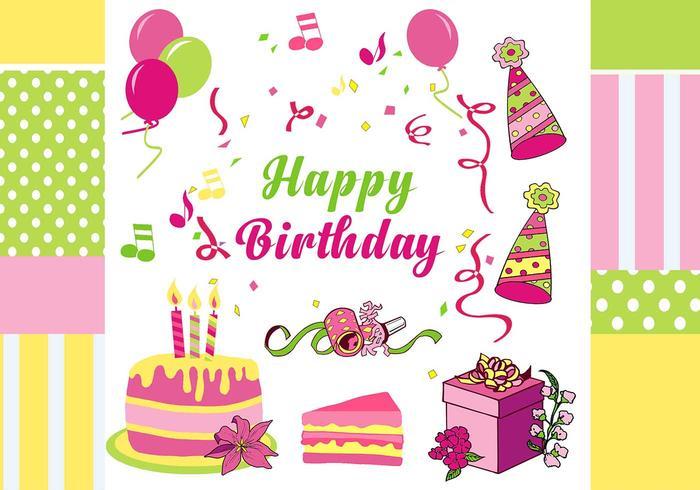 Feliz cumpleaños elementos psd