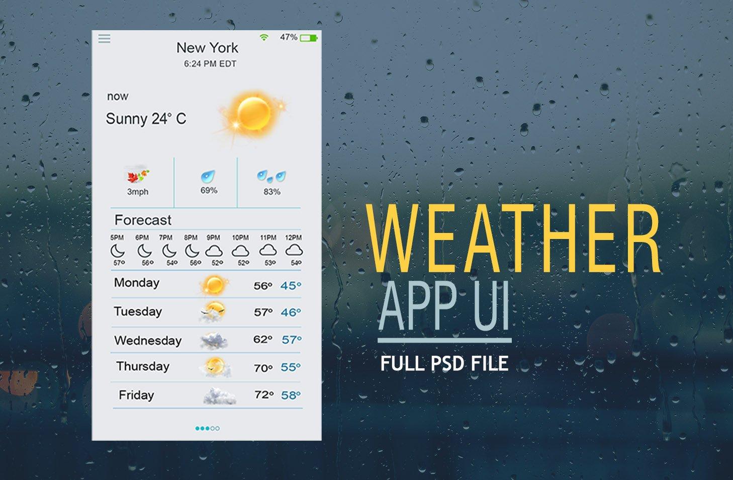 Weather App UI PSD - Free Photoshop Brushes at Brusheezy!