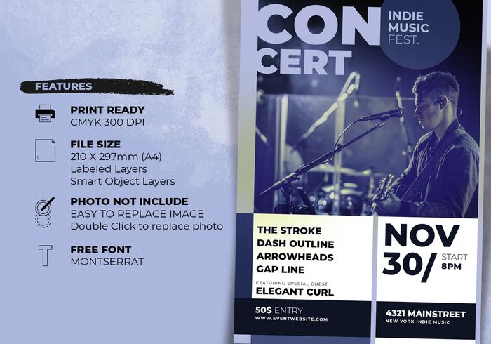 Indie Music Concert Poster Template - Free Photoshop Brushes