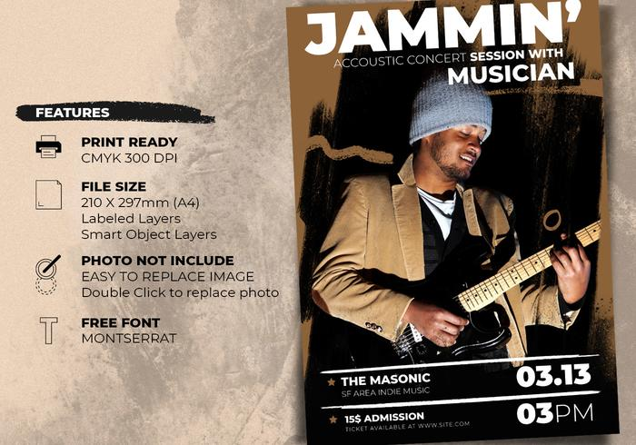 Acoustic Concert Flyer Posters Template