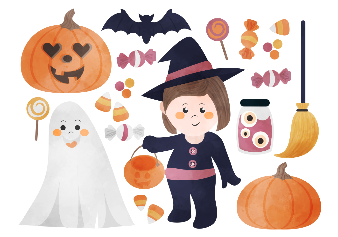 cute halloween elements - free photoshop brushes at brusheezy!