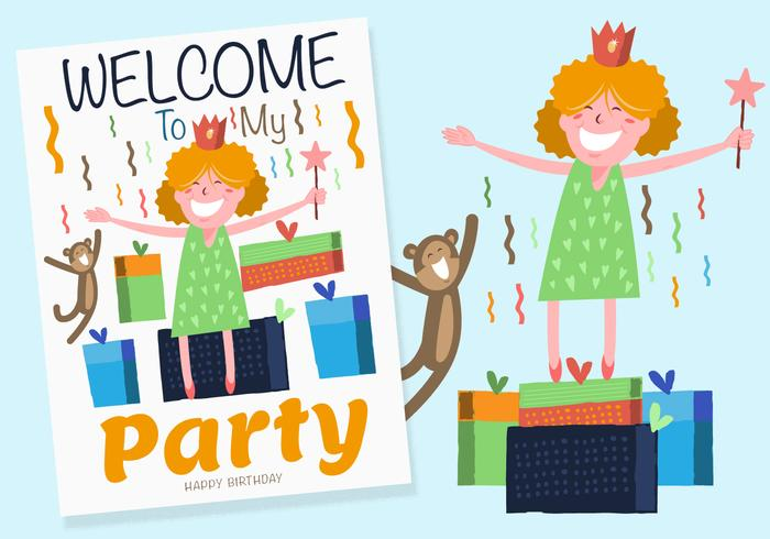 Happy Birthday Party Cards Template Elements Set