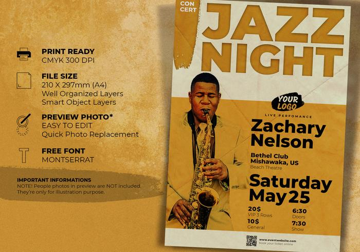 jazz concert music event flyer template free photoshop brushes at