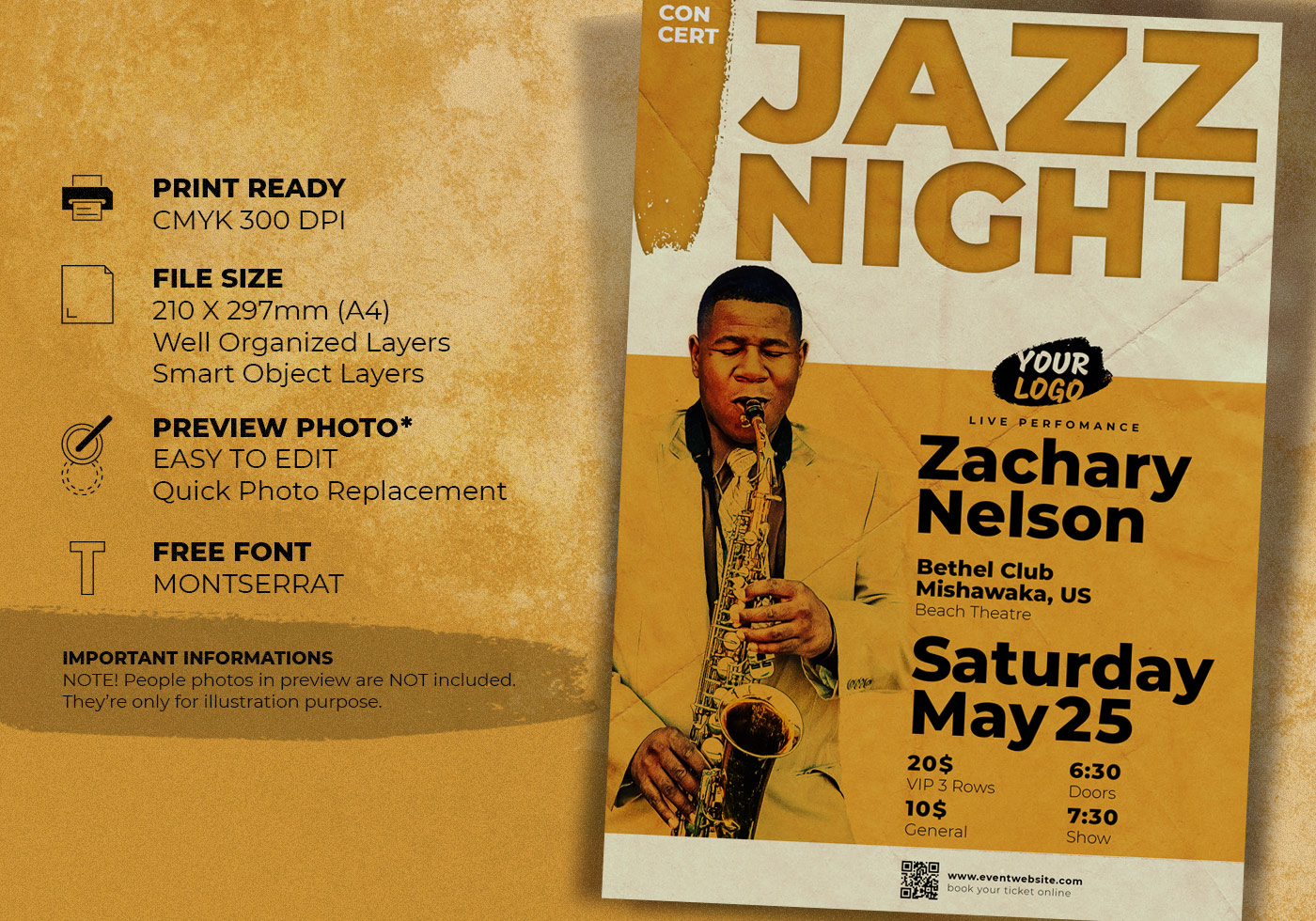 Jazz Concert Music Event Flyer Template - Free Photoshop