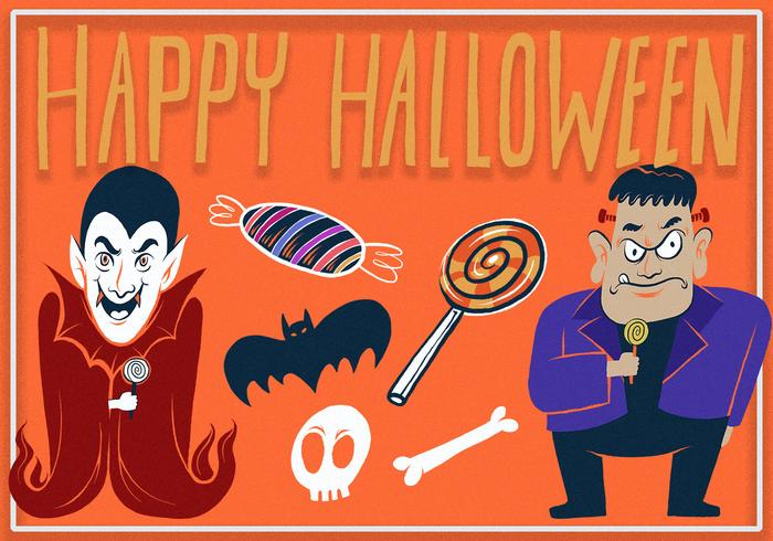 Awesome Happy Halloween Illustration Elements Set