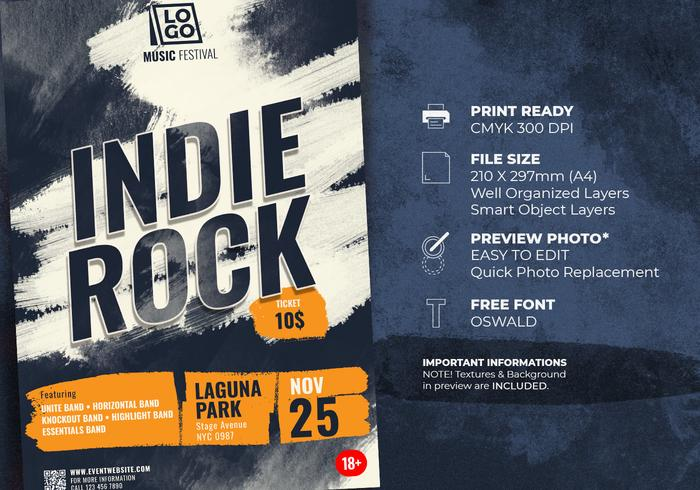 Indie Rock Music Festival Flyer Template
