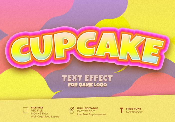 Cupcake Game Logo Text Effect