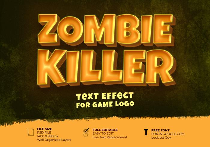 Zombie Killer Game Logo Text Effect