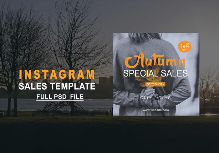 Herfst Instagram verkoopsjabloon PSD