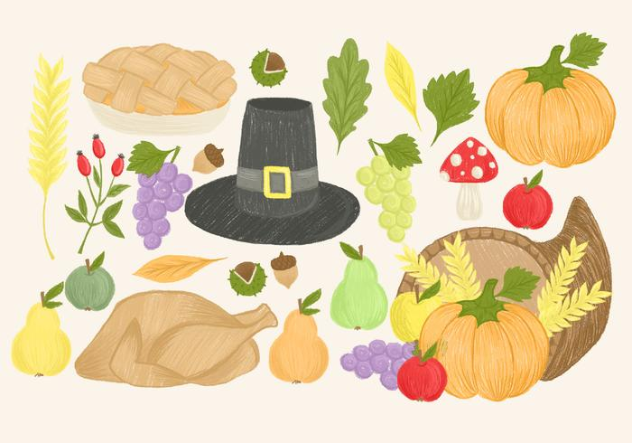Éléments de Thanksgiving dessinés à la main