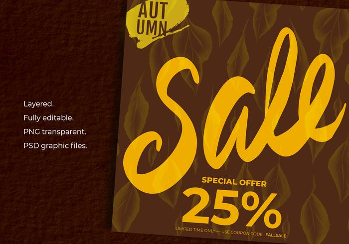 Autumn Sale On Background Of Autumn Leaves Template