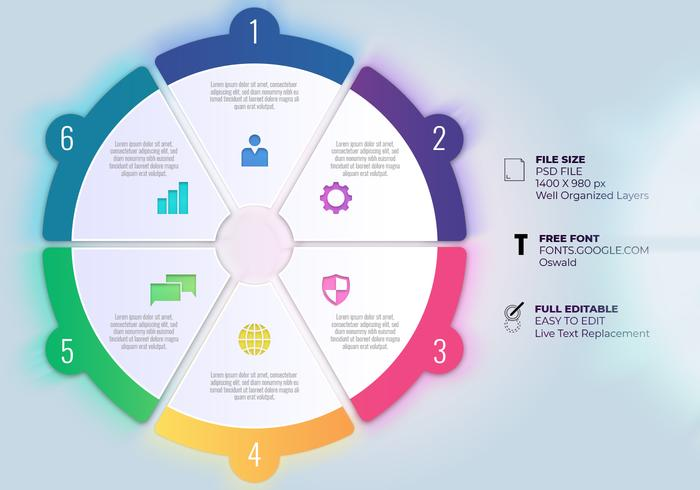 Business Process Timeline Infographics With Six Options Circles Templates