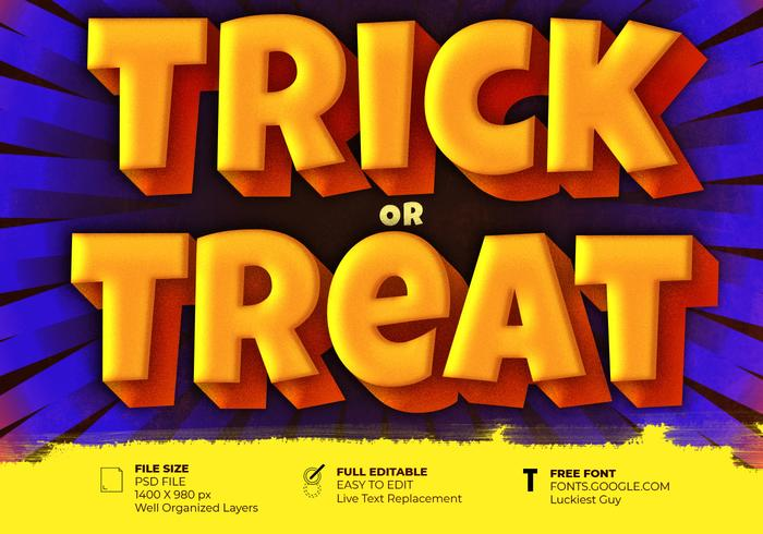 Trick Or Treat Halloween Belettering Effect