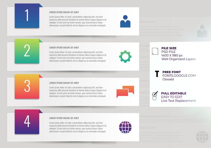 Företagspresentation Infographic Four Options Step Templates