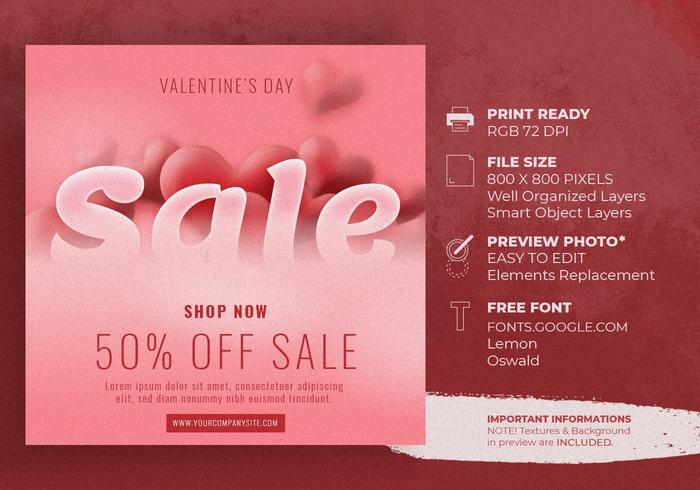 Valentines Day Sale Background With Heart Shaped Template