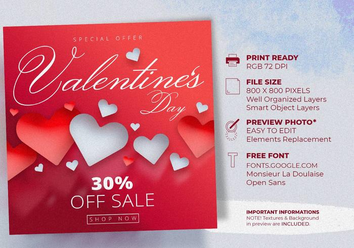 Valentinstag-Verkaufsangebot Instagram Post Templates