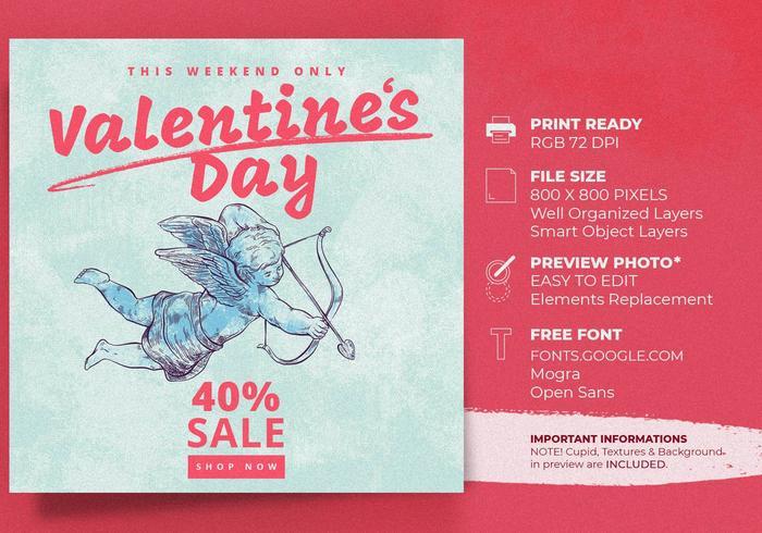 Valentinstag-Amor-Verkaufsangebot-Fahnen-Schablone