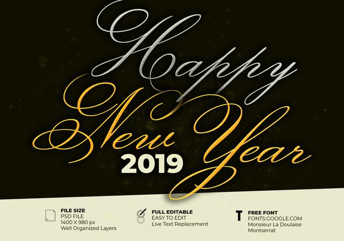 Beautiful Elegant Text Effect Of Happy New Year 2019