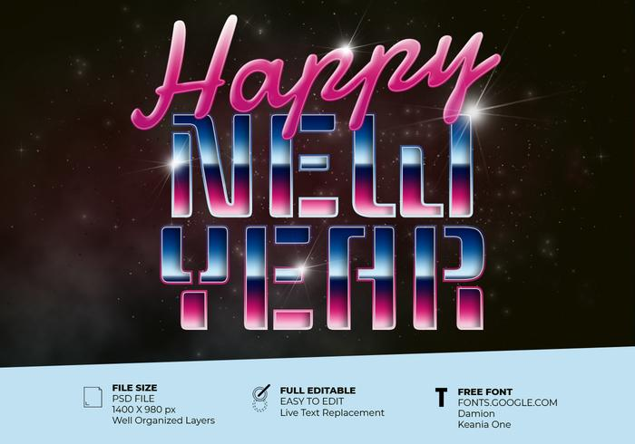 Happy New Year Greeting Card With 80's Retro Text Effect