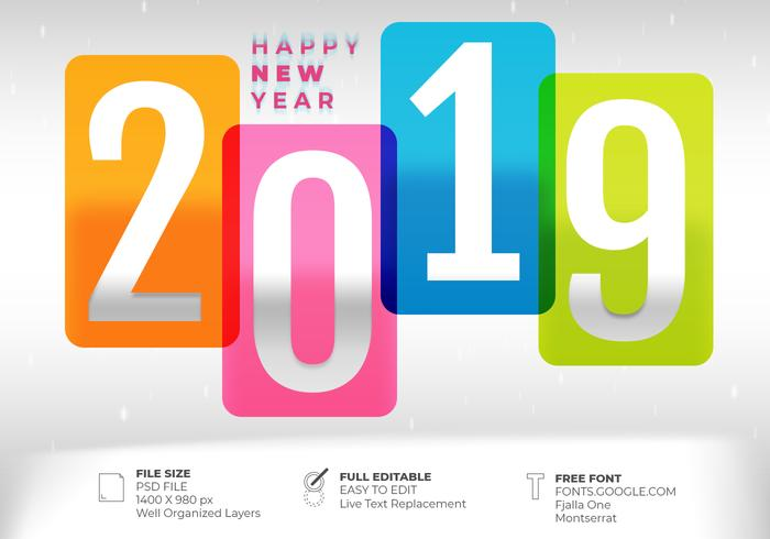 Creative 2019 Text Effect Happy New Year Design Background