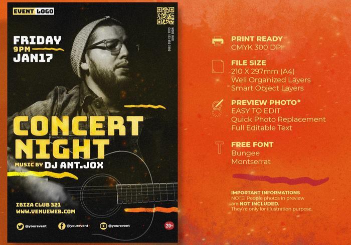 Live konsertmusikfestival affischmall