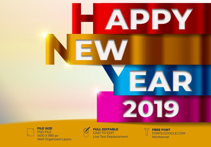 Happy New 2019 Year Greetings Card Colorful Design Template