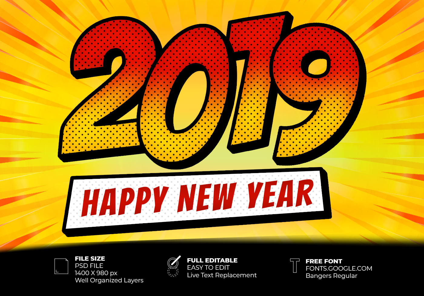 2019 Happy New Year Pop Art Style Text Effect - Free ...