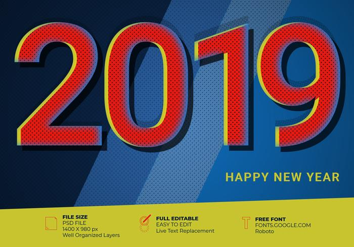2019 Happy New Year Pop Art Vintage Text Effect Element