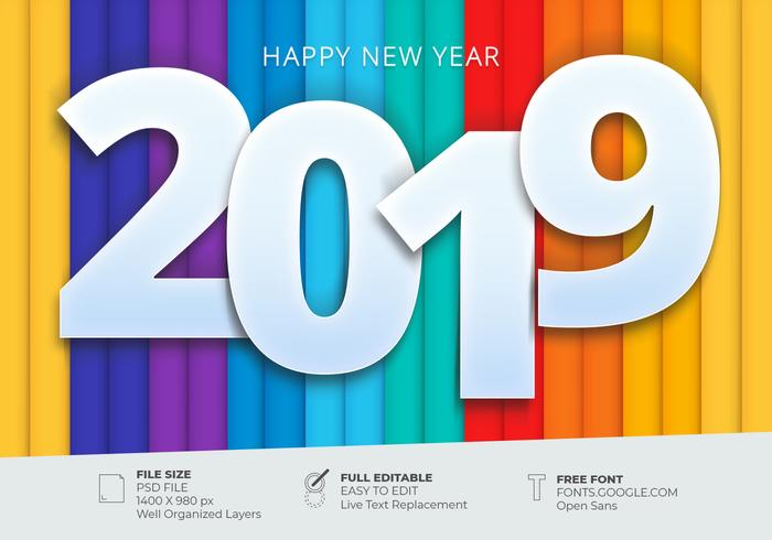 Happy New 2019 Greetings Card With Colorful Background Design Template