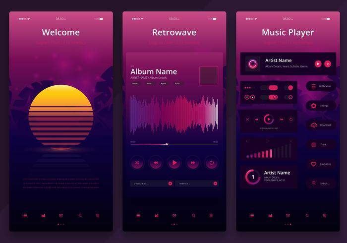 Retrowave UI-set. Newwave UI Mobile Kit