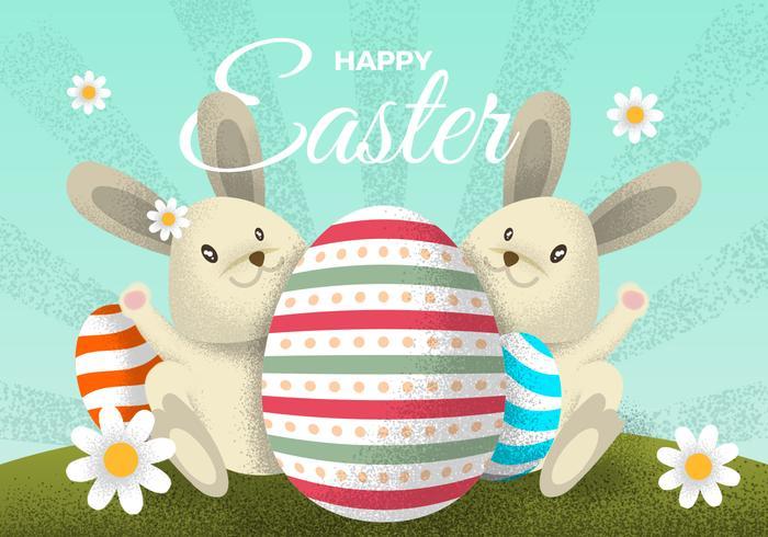 Personnage de lapin de Pâques vintage avec des œufs PSD Illustration