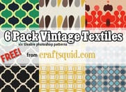 6 vintage textielpatronen