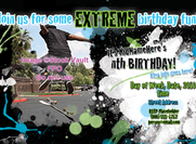 5.5 x 8.5 Extreme Birthday party invitation